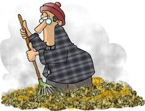 Leafraker. This illustration that i created depicts a man raking leaves Stock Photos