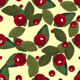 Leafs And Berries. Watercolor pattern made from red berries and green leafs on the yellow background Stock Images