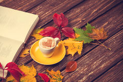 Leafs, book and coffee cup Royalty Free Stock Photography