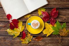 Leafs, book and cup Stock Photography
