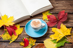 Leafs, book and cup Royalty Free Stock Image