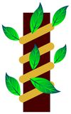 Creeping plant at wood. Isolated illustrated Creeping plant at wood clip art Stock Photography