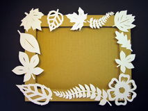 Leafs frame. Paper cutting. Royalty Free Stock Photo