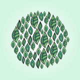 Leafs in a round shape. Royalty Free Stock Images