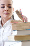 Leafs young student in the books Royalty Free Stock Image