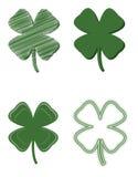 leafvariation för växt av släkten Trifolium fyra Arkivfoto