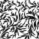 Leafy black white ornaments. Endless texture Stock Image