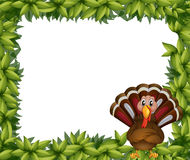 A leafy border with a turkey Royalty Free Stock Photo