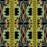 Leafy colorful greek key vector seamless pattern. Ornamental elegance floral background. Greek key meander green borders. Wave. Lines. Geometric repeat backdrop stock illustration