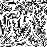 Leafy floral black and white vector seamless pattern. Hand drawn. Doodle leaves, branches. Isolated abstract forest ornaments. White background. Luxury template vector illustration