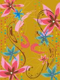 Leafy floral dots pink blue Stock Photo