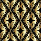 Leafy gold Baroque seamless pattern. Vector patterned geometric Stock Photos