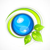 Leafy green eco button Stock Image