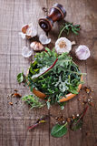 Leafy green mix over rustic wooden background Stock Image