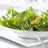 Leafy green salad with croutons and fork Royalty Free Stock Photo