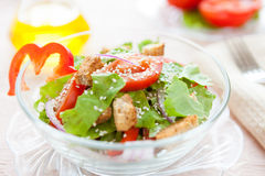 Leafy green salad with croutons and tomato Royalty Free Stock Image