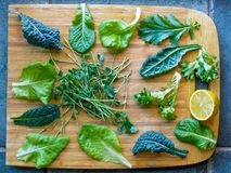 Leafy greens on cutting board. Leafy greens for a salad on a cutting board. Kale, spinach, microgreens, and lemon stock images