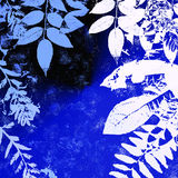 Leafy grunge background. Illustration of leafy grunge background or frame with copy space in shades of blue and white Royalty Free Stock Image