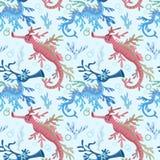 Leafy Sea Dragon seamless pattern. stock illustration
