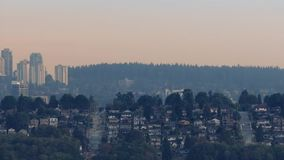 Leafy Suburbs Outside City In Evening Haze stock footage