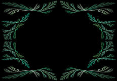 Leafy Teal or Green Fractal Frame With Black Copy Stock Image