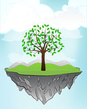 Leafy tree on flying island concept in sky vector Stock Photo