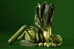 Leafy vegetables against green background Stock Image