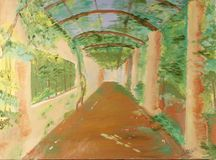 A Leafy Walkway. Drawing of A Leafy Walkway Stock Image