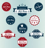 League Champion and All Star Labels. Collection of league champion and all star labels and stickers Stock Photo