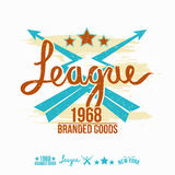 League emblem girl's print and design elements. League emblem girl's colors graphic design for t-shirt Royalty Free Stock Images