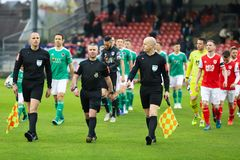League of Ireland Premier Division match between Cork City FC vs St Patrick`s Athletic FC. April 12th, 2019, Cork, Ireland - League of Ireland Premier Division royalty free stock image