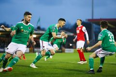 League of Ireland Premier Division match between Cork City FC vs St Patrick`s Athletic FC. April 12th, 2019, Cork, Ireland - League of Ireland Premier Division royalty free stock images