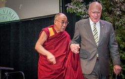 Leahy Escorts the Dalai Lama on Stage Stock Photo