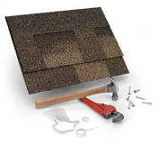 Leak repair. Roofing shingles, hammer & water Stock Photos
