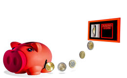 Leakage of savings. Photography and illustration. The savings will escape from the piggy bank and they are going to have fun Royalty Free Stock Images
