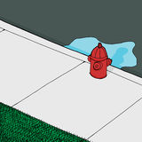 Leaking FIre Hydrant. Background with leaky fire hydrant on sidewalk Royalty Free Stock Photography