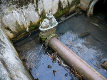 Free Leaking Industrial Pipe Transporting The Sewage Water Royalty Free Stock Photography - 164049527