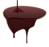 Leaking melted chocolate  on white background. Vector illustrati Stock Images