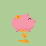 Leaking Piggy Bank Royalty Free Stock Photography