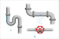 Leaking pipe vector set. royalty free illustration