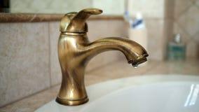 Leaking water tap closeup. Closeup of Leaking water tap stock video