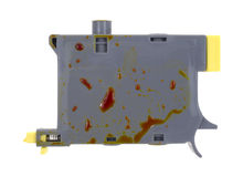 Leaking yellow inkjet cartridge Royalty Free Stock Image