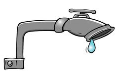 Leaky faucet. Cartoon illustration of a leaky faucet Stock Photography