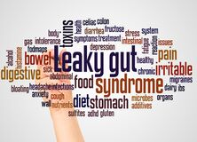 Leaky gut syndrome word cloud and hand with marker concept