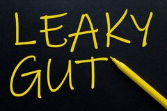 Leaky Gut Yellow Pen with yellow text own rent at the black background