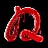 Leaky red alphabet on black background. Handwritten cursive letter D. 3d rendering Stock Photo