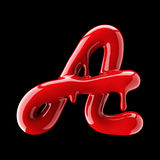 Leaky red alphabet on black background. Handwritten cursive letter A. 3d rendering Stock Image