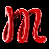 Leaky red alphabet on black background. Handwritten cursive letter M. 3d rendering Royalty Free Stock Image