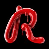 Leaky red alphabet on black background. Handwritten cursive letter R. 3d rendering Stock Images