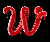 Leaky red alphabet on black background. Handwritten cursive letter W. 3d rendering Royalty Free Stock Photography